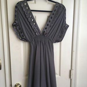 Marc Jacobs Charcoal Grey Silk Dress L